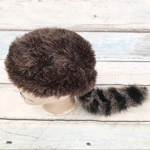 Coonskin Cap Faux Raccoon Fur Tail Hat
